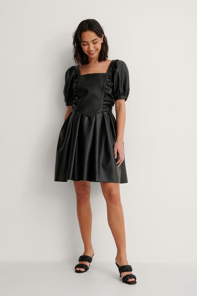 Short Puff Sleeve PU Dress