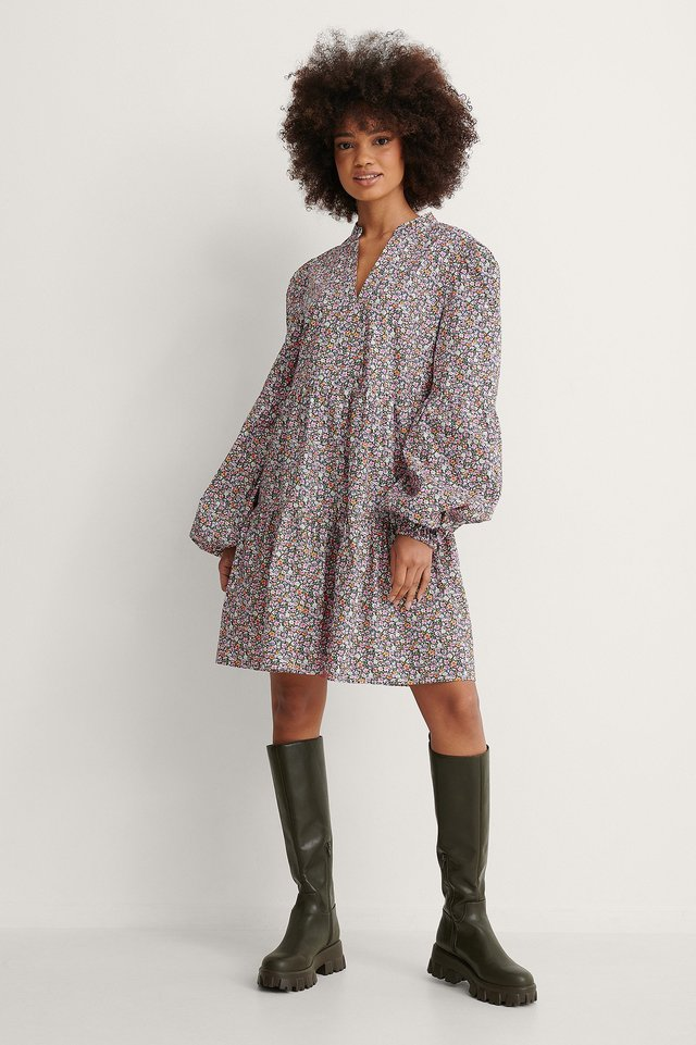 Long Sleeve A-line Mini Dress Outfit