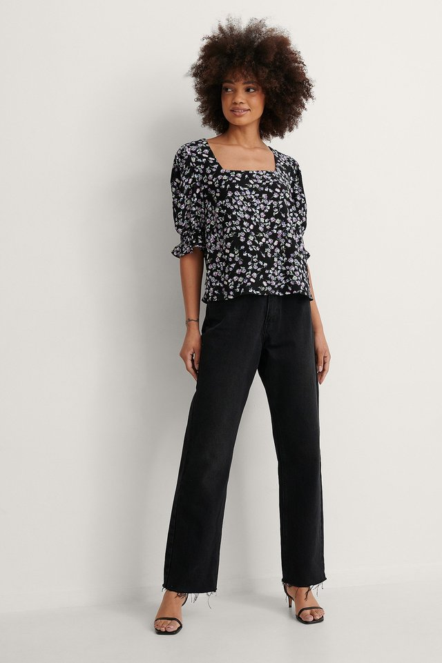 Smock Puff Sleeve Square Neck Top