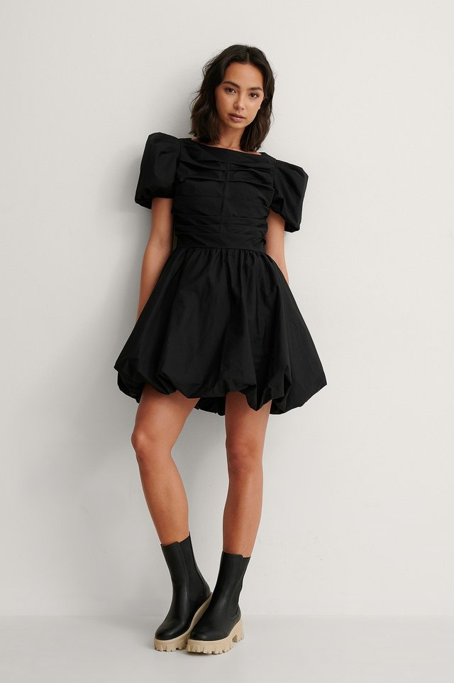 Ruched Puff Sleeve Mini Dress Outfit.