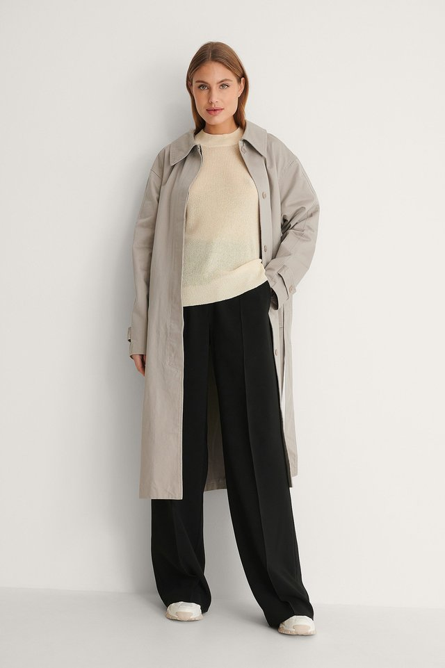 Belted Cotton Coat Outfit.