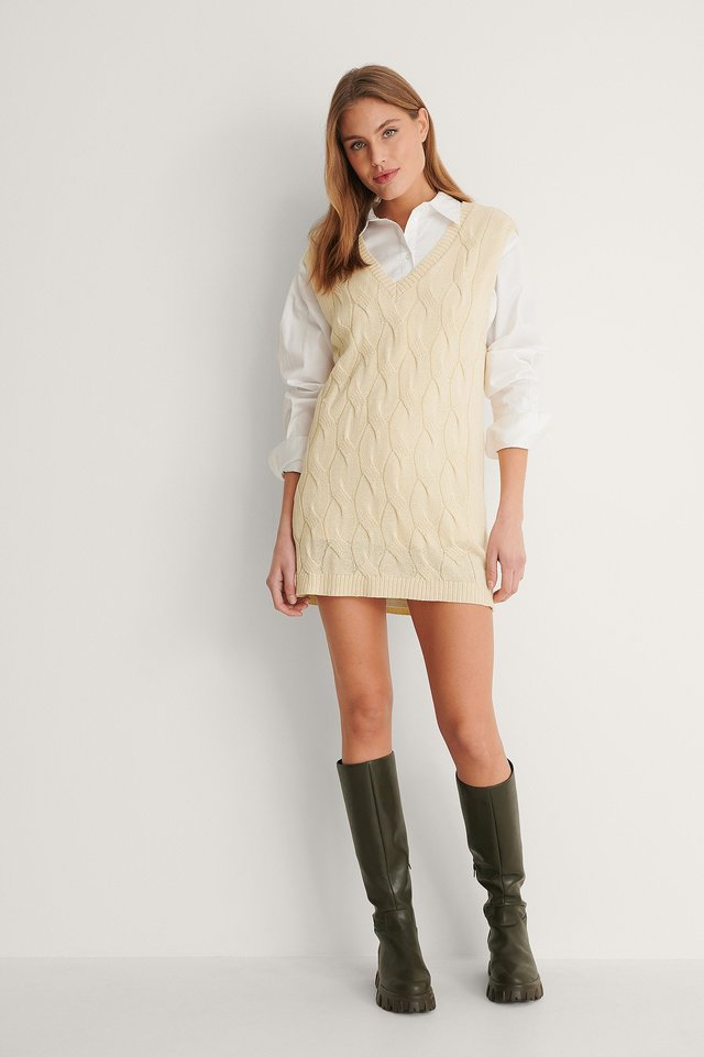 Cable Knitted Vest Dress Outfit.