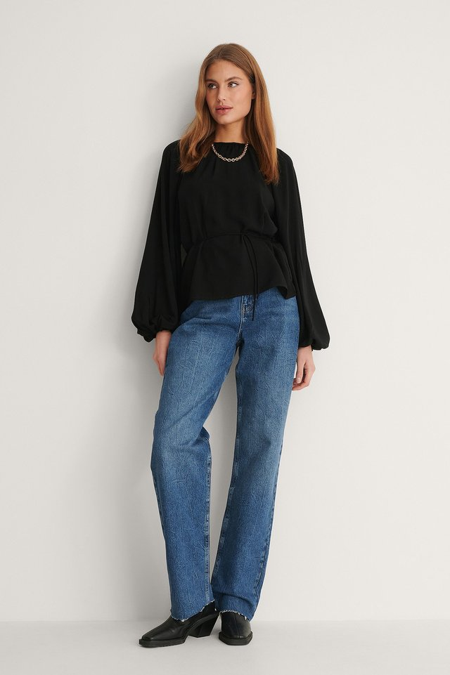 Round Neck Belted Flowy Top Outfit.