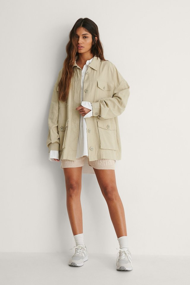 Linen Blend Overshirt Outfit.