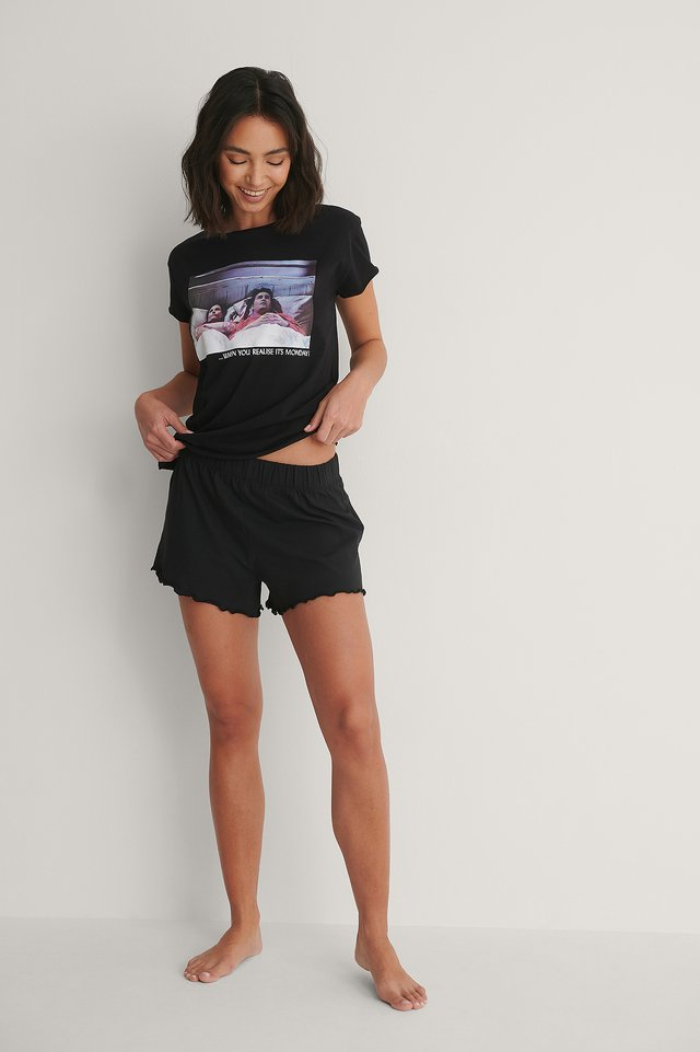 Raw Edge Printed Tee with Frill Shorts Outfit.