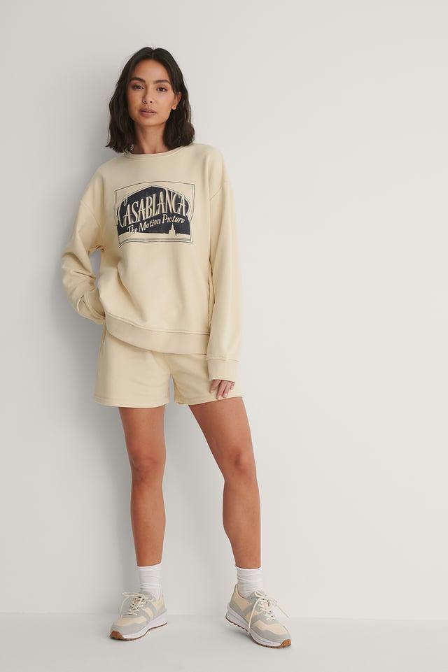 Beige - Casablanca Logo Oversized Sweater
