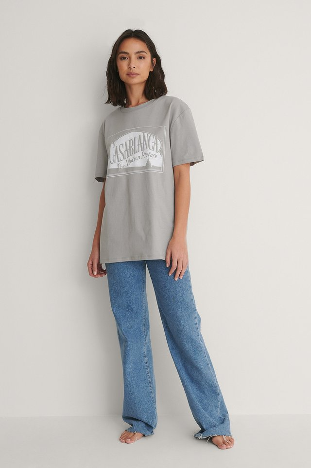 Unisex Tee and Wide Denim Outfit.