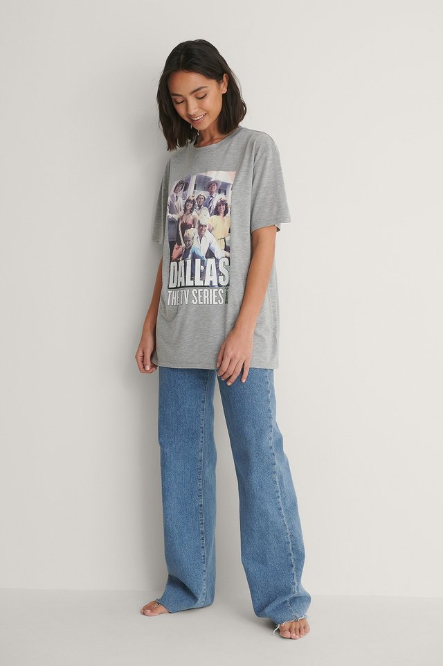 Unisex Tee and Wide Leg Denim Outfit.