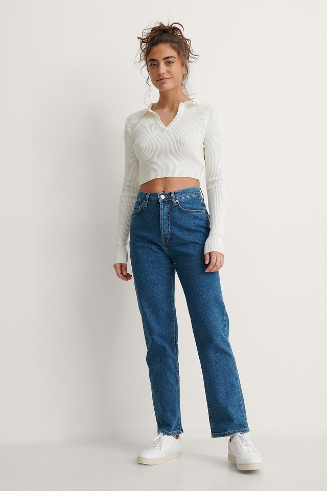 Blue Økologiske Højtaljede Jeans Med Lige Ben