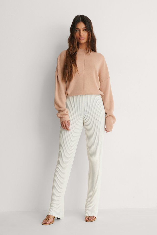 Ribbed Knitted Pants Outfit.