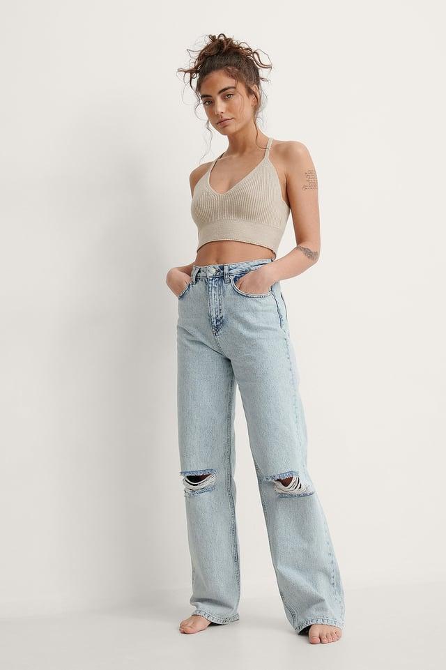 Acid Wash Wide Leg Destroyed Jeans Outfit