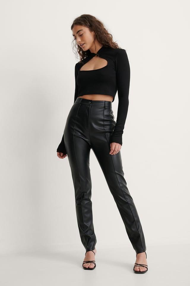 Melissa High-Waist PU Pants Outfit.