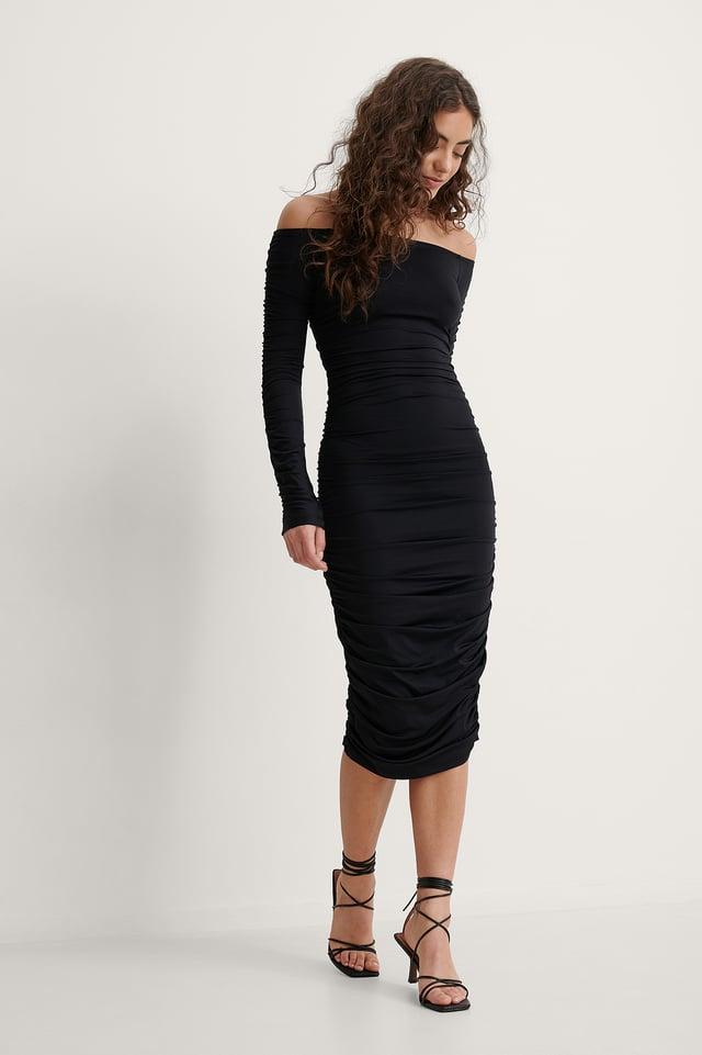 Melissa Off Shoulder Ruched Dress Outfit.