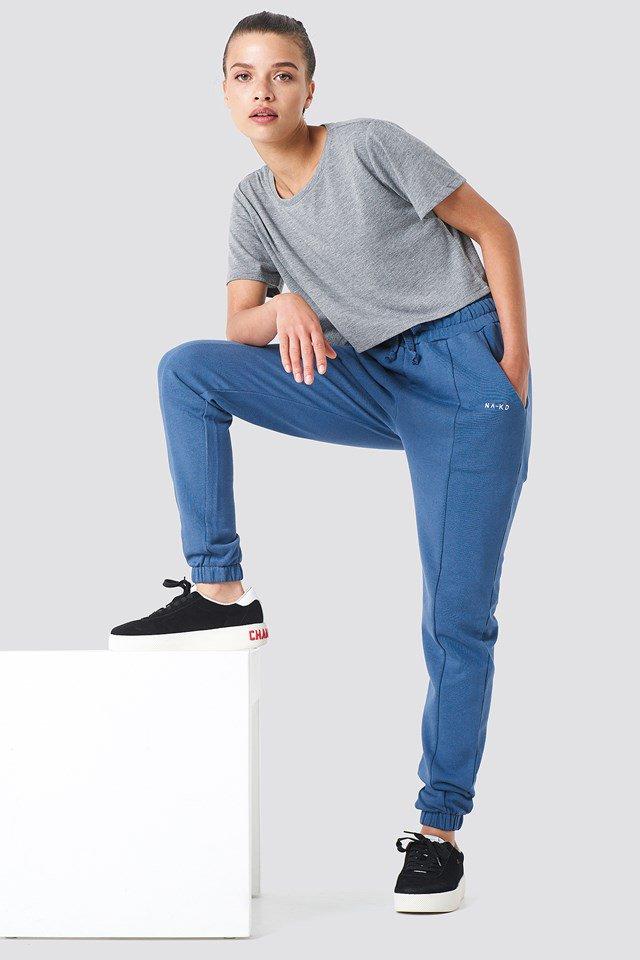 Grey Melange Proste Spodnie Dresowe