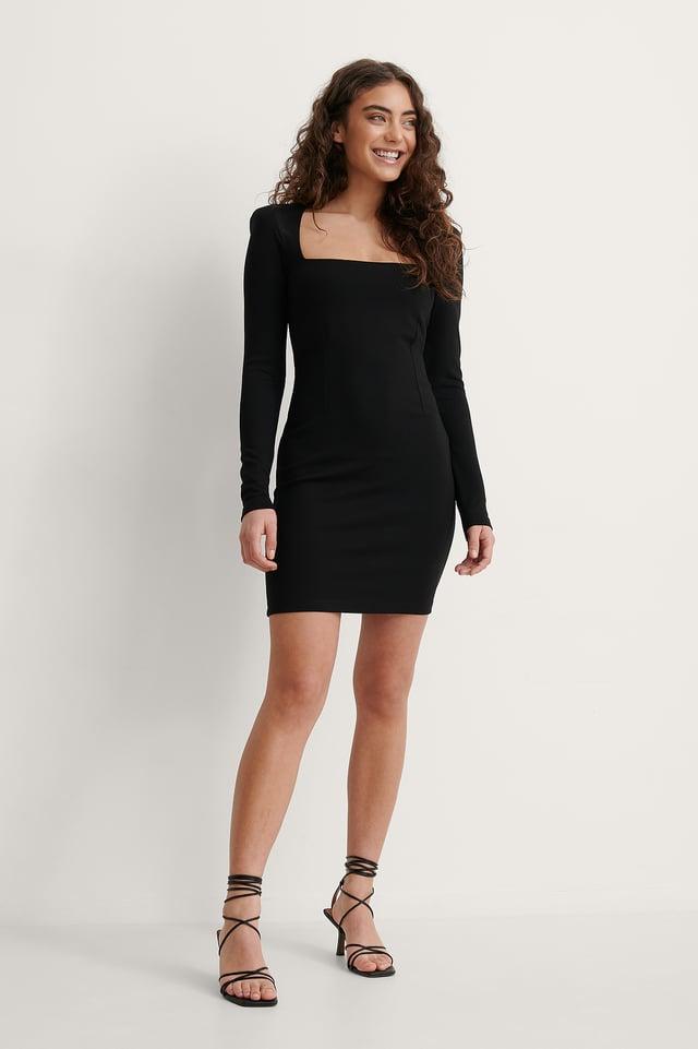 Melissa Padded Shoulder Jersey Dress Outfit.