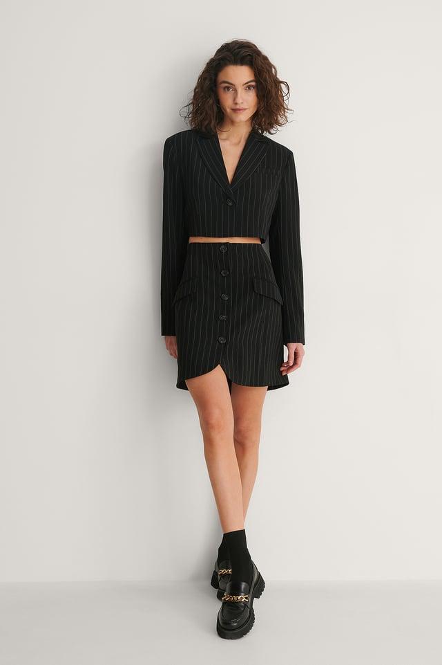 Pinstripe Pinstriped A-line Mini Skirt