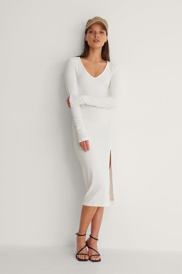 V-Neck Ribbed Slit Dress