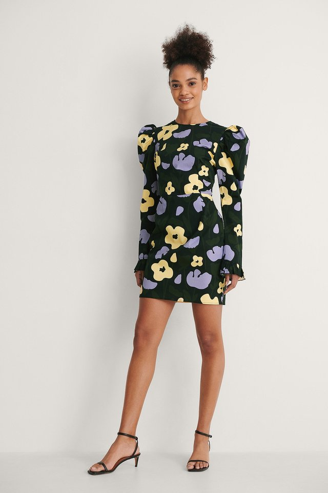 Yellow Flower Long Puff Sleeve Mini Dress