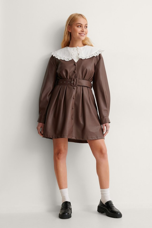 PU Belted Mini Dress