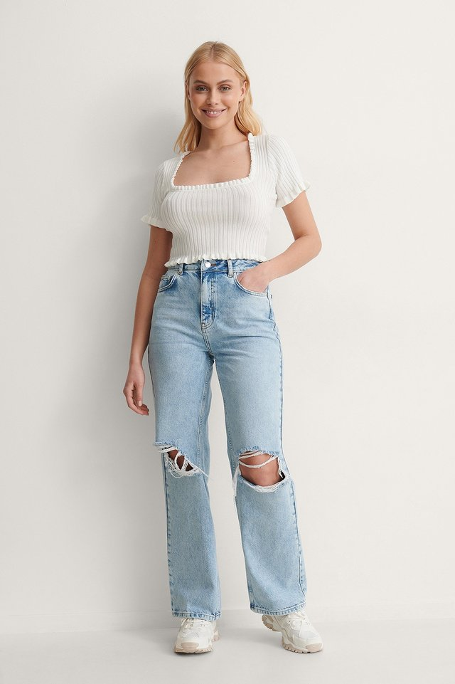 Frill Detail Cropped Knitted Top