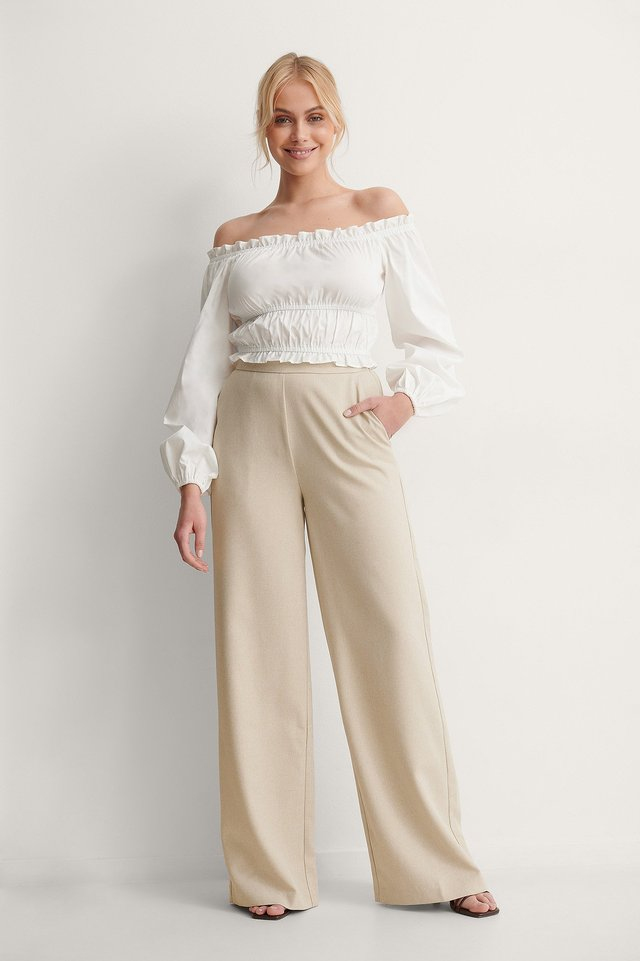 Off-Shoulder Recycled Ruched Blouse