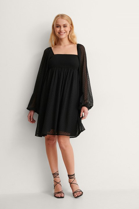Square Neck Dobby Mini Dress Outfit.