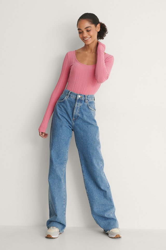 Scoop Neck Rib Top Outfit