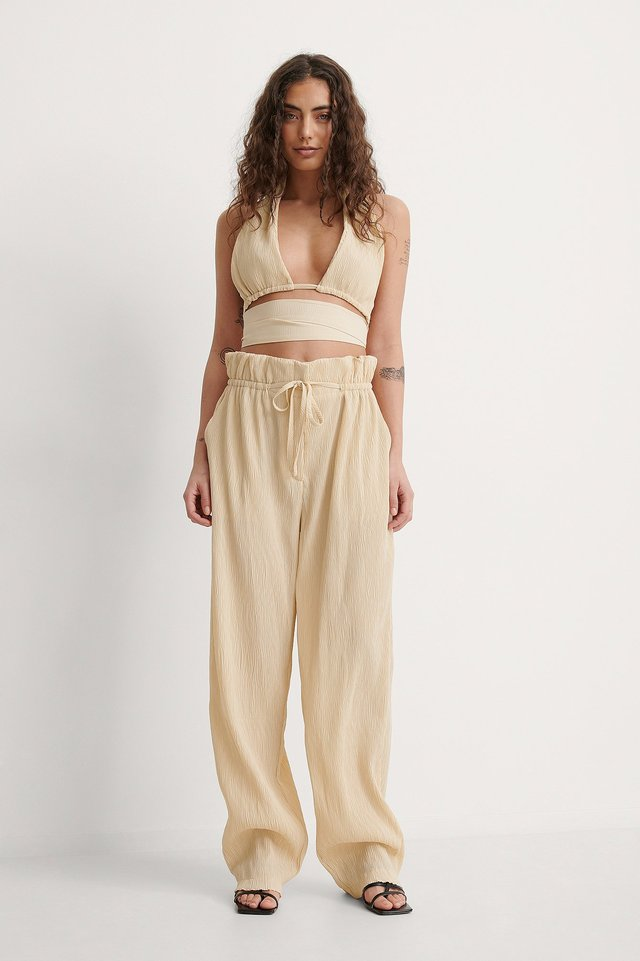 Crinkled Paperwaist Pants Outfit