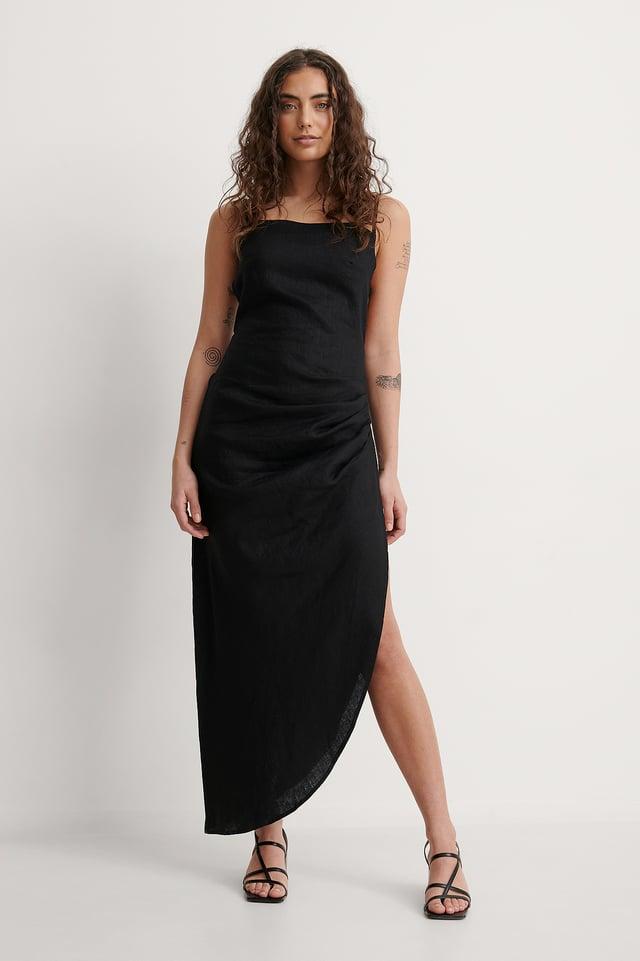 Draped Linen Dress Outfit