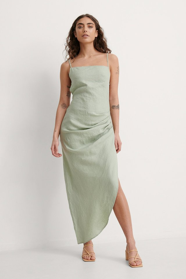 Draped Linen Dress Outfit