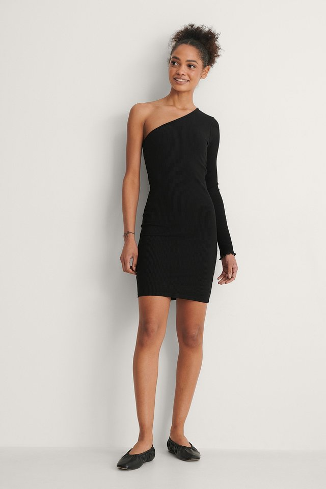 One Shoulder Babylock Detail Dress