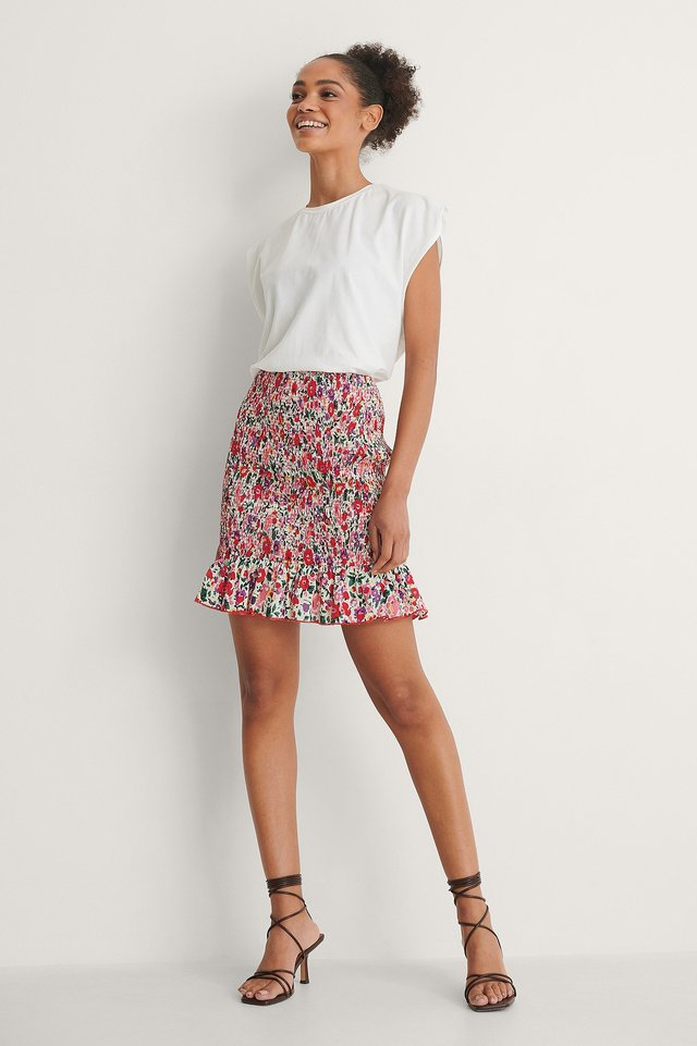 Smocked Frill Mini Skirt