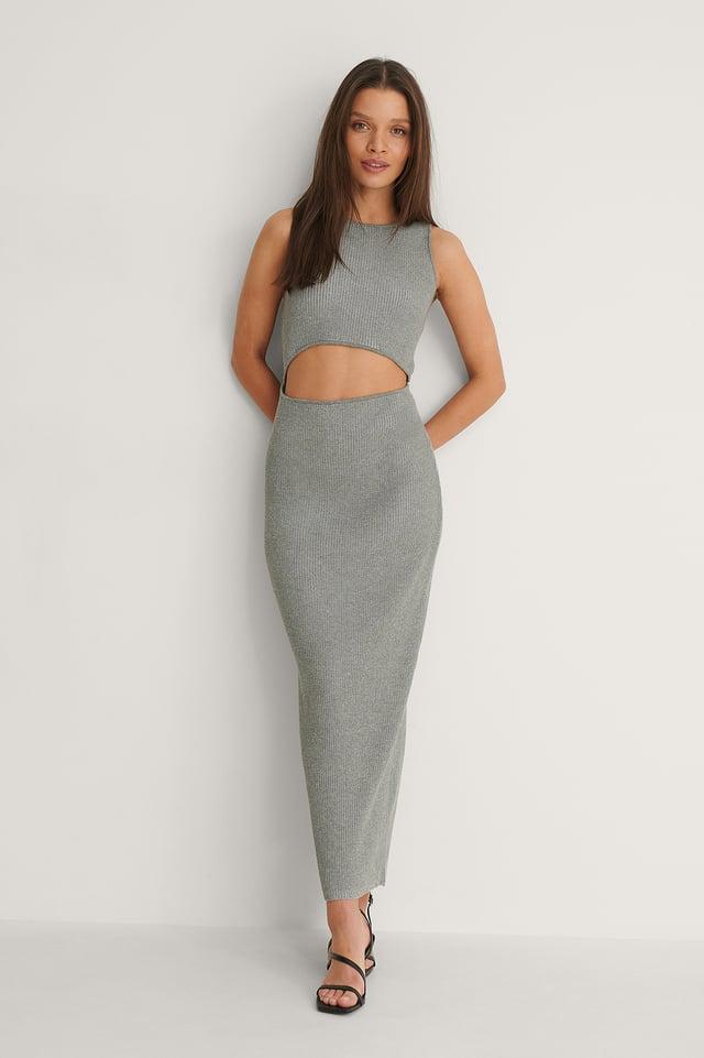 Grey Orgánico Vestido De Punto Con Cortes