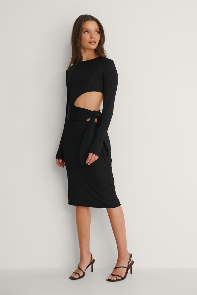 Side Cut Out Dress Outfit.