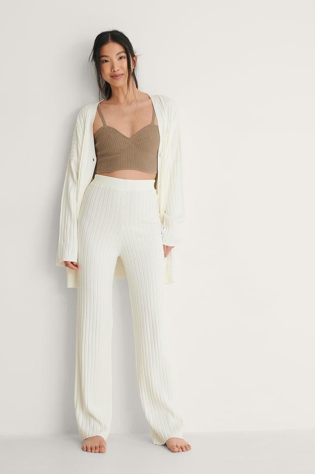 White Pantalón De Punto Acanalado