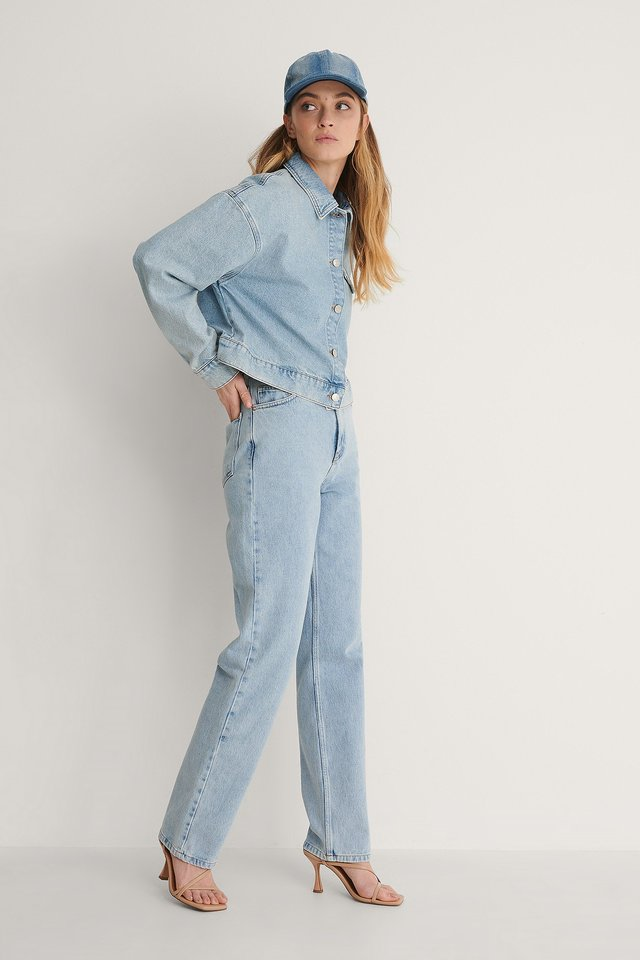 NA-KD Cropped Denim Jacket Outfit