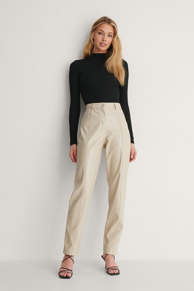 recycled ribbed turtleneck top