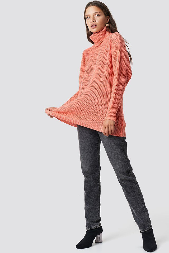 Dusty Dark Pink Balloon Sleeve Knitted Sweater