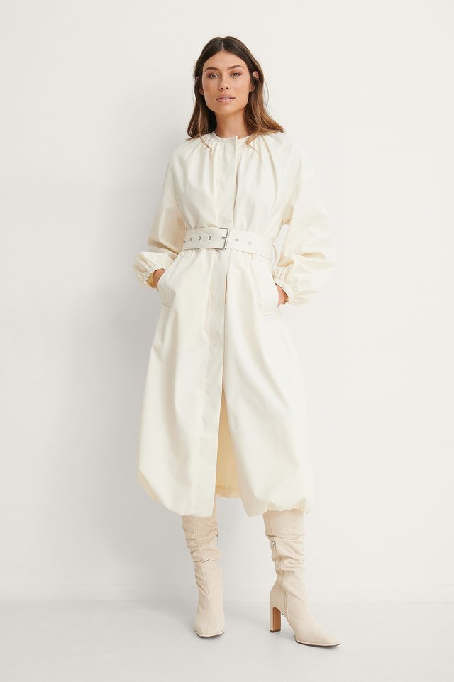 Offwhite Belted Voluminous Coat
