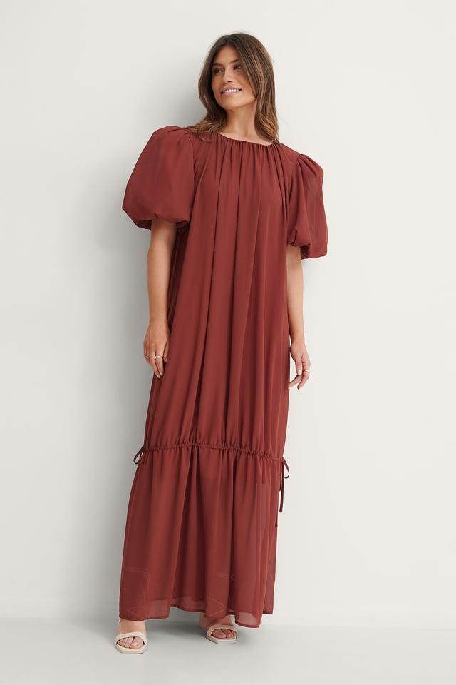 Big Puff Sleeve Chiffon Dress Outfit