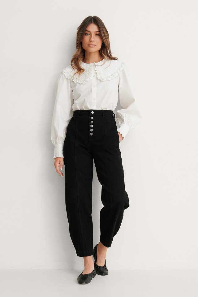 Black Organic Button Fly Cocoon Jeans