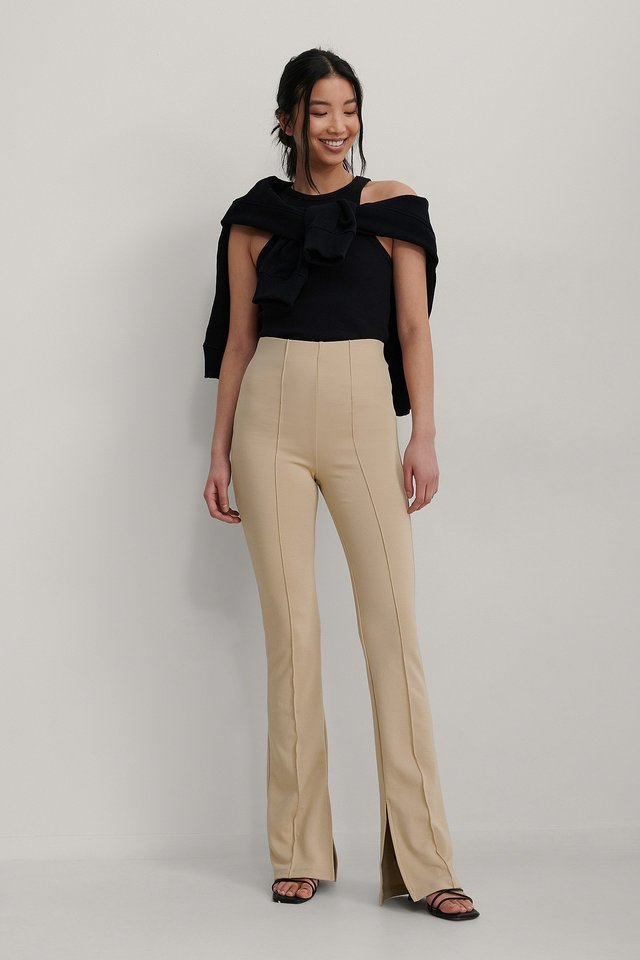 Seam-Detail Slit Pants