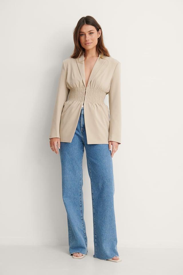 Smocked Waist Blazer Outfit