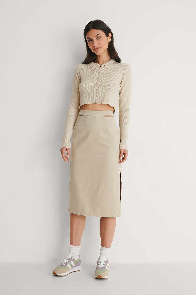Light Khaki Organic Cut Out Denim Skirt