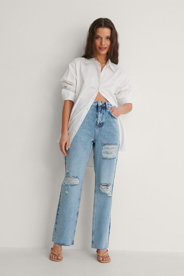Destroyed Detail High Waist Straight Jeans Outfit