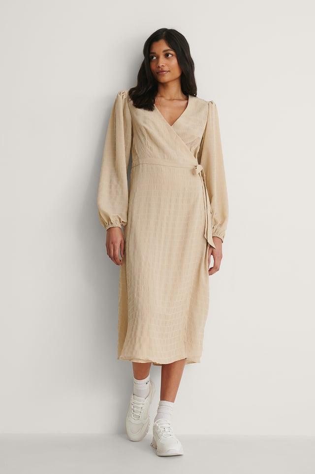 Tie-Waist V-Neck Midi Dress