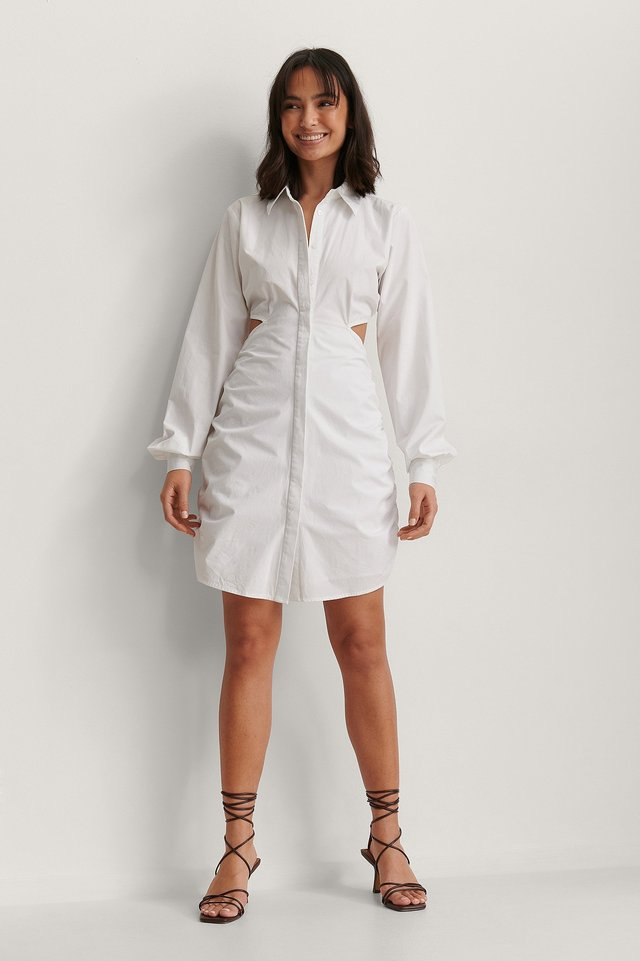 White Oversize Skjortklänning Med Markerad Midja
