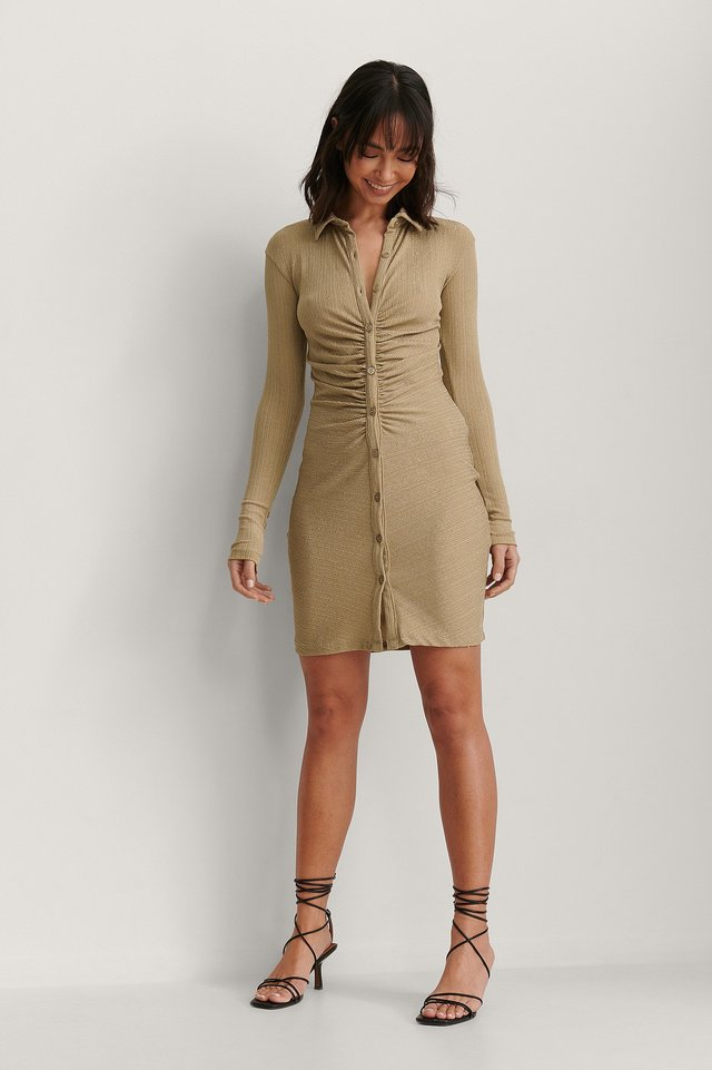 Rouched Button Detail Dress