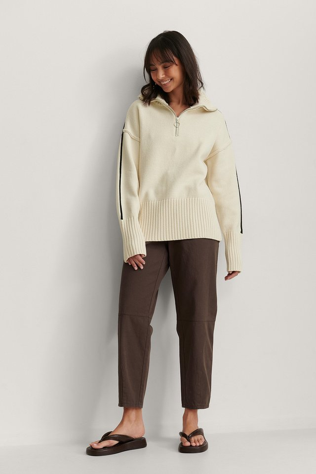 High Neck Stripe Detail Knitted Sweater
