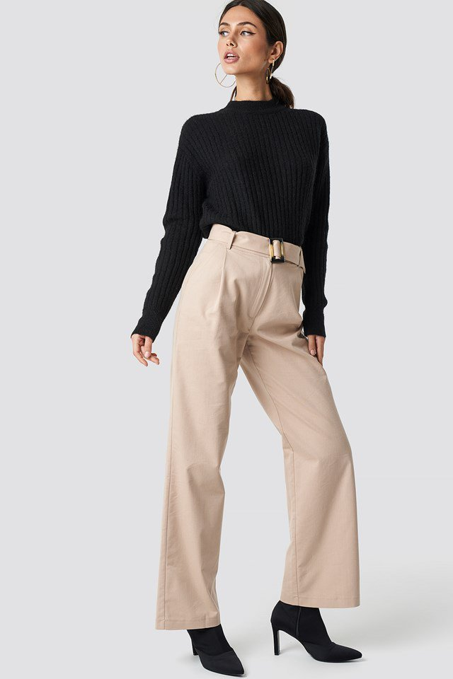 Black Knit X Belted Pants Outfit